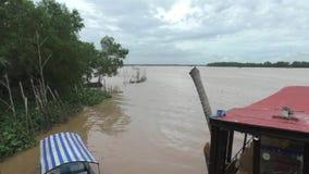 Tourist boats on Mekong River, Vietnam stock video footage