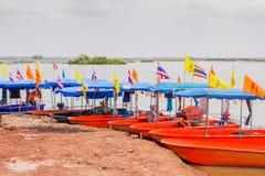 Tourist boats mooring Royalty Free Stock Photos