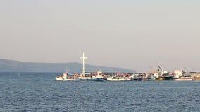 Tourist boats Nessebar port Bulgaria
