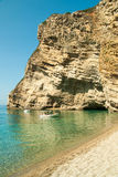 Tourist boats at Paradise Beach near Liapades, Western of Corfu Stock Images