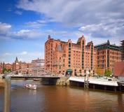 Tourist boats passing on the waterways in Hamburg Royalty Free Stock Photo