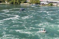 Tourist boats at Rhine Falls, Switzerland Stock Photography