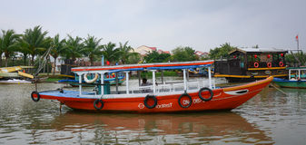 Tourist boats on river in Hoi An, Vietnam Royalty Free Stock Image
