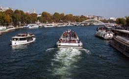 Tourist boats on Seine Stock Photos