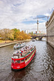 Tourist boats on the Spree river, Berlin city Stock Images