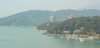Tourist boats on Sun Moon Lake Stock Photography