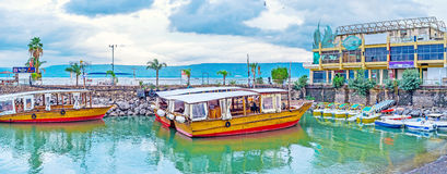 The tourist boats in Tiberias Royalty Free Stock Photography