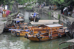 Tourist boats at Tongli Town Stock Photography