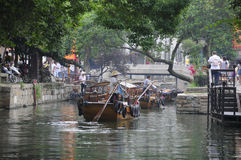 Tourist boats at Tongli Water town Stock Photo
