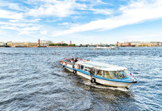 Tourist boats traveling along the Neva River. Royalty Free Stock Images