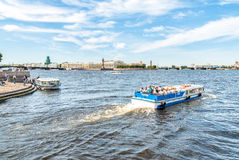 Tourist boats traveling along the Neva River. Royalty Free Stock Photo