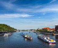 Tourist boats on Vltava river in Prague Royalty Free Stock Photos