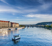 Tourist boats on Vltava river in Prague Royalty Free Stock Images