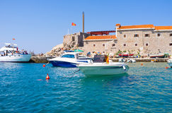 The tourist boats. Wait for visitors in port, located in the old town, Petrovac, Montenegro Royalty Free Stock Photography