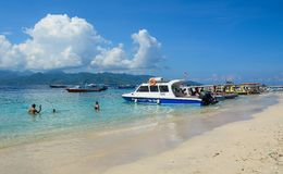 Tourist boats waiting at jetty in Lombok royalty free stock photo