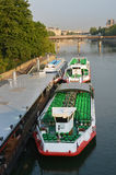 Tourist Boats waiting for Sightseeing Passengers on the Seine Ri Royalty Free Stock Images