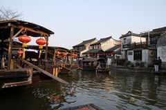 Tourist boats on the water canals of Xitang Town in China Royalty Free Stock Images
