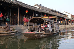 Tourist boats on the water canals of Xitang Town in China Royalty Free Stock Photography