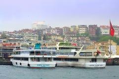 Tourist boats wharf Istanbul Stock Photo