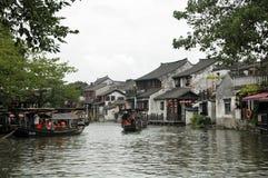 Tourist boats at Xitang Water Town China Stock Image