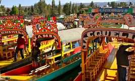 Tourist Boats in Xochimilco, Mexico. Colorful traditional boats (trajineras) Xochimilco,Mexico City Stock Images
