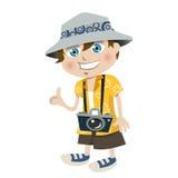Tourist boy. Cartoon style tourist boy illustration vector Royalty Free Stock Photos