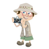 Tourist boy. Cartoon style tourist boy illustration vector Stock Images