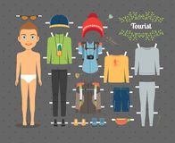 Tourist Boy Paper Doll with Clothes and Shoes Royalty Free Stock Image