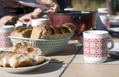 Tourist breakfast outdoors Stock Images