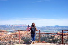Tourist in Bryce Canyon National Park. Young Female Tourist in Bryce Canyon National Park, Utah, USA Stock Photo