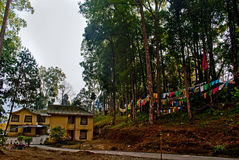 Tourist Bungalow. A tourist bungalow is in the silence of forest near a monastery path in Sikkim, India. Traditionally, prayer flags are used to promote peace Stock Photos