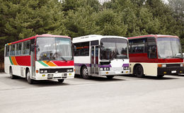 Tourist bus. Several tourist buses parked in the scenic site Stock Images