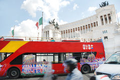 Tourist bus. Venice Square in Rome, and the Monument of Victor Emmanuel . Italy Royalty Free Stock Image