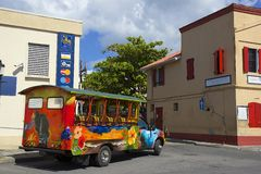 Tourist bus in Antigua, Caribbean Royalty Free Stock Photo