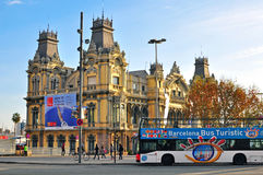 Tourist bus in Barcelona. BARCELONA, SPAIN - DECEMBER 26: Tourist bus in centre of Barcelona city on December 26, 2014. Barcelona is the secord largest city of Royalty Free Stock Image
