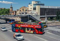 Tourist bus in Barcelona Royalty Free Stock Images
