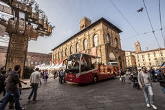 Tourist bus in bologna. Starting tour Stock Photos