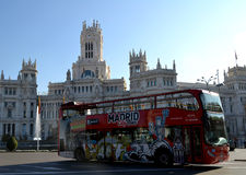 Tourist bus in Cibeles Square, Madrid, Spain Royalty Free Stock Image