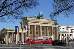 Tourist bus in front of Brandenburg Gate, Berlin, Germany Stock Photography