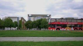 Tourist Bus In Front of The Bundeskanzleramt In Berlin, Germany. BERLIN, GERMANY - JULY 11, 2019: Tourist Bus In Front of The Bundeskanzleramt, Meaning The stock video