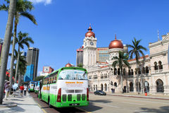 The tourist bus in front of Sultan Abdul Samad Building Stock Image