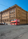 Tourist bus in the historic quarter of St. Petersburg, Russia Stock Images