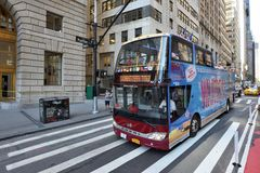 Tourist bus in lower Manhattan. On August 23, 2017 in New York City, NY. Manhattan is the most densely populated borough of New York City Royalty Free Stock Images