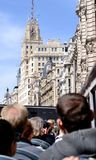 Tourist Bus in Madrid Spain. Tourists exploring Madrid in tourist bus Royalty Free Stock Photos