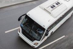 tourist bus on a multi-lane road. stock photo
