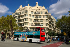 Tourist bus near La Pedrera in Barcelona, Spain Royalty Free Stock Images