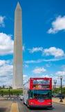 Tourist bus next to the Washington Monument in Washington D.C. Royalty Free Stock Photo