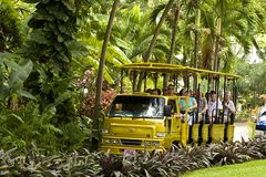 Tourist bus in St Kitts, Caribbean Royalty Free Stock Images