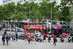 Tourist bus stop near square of Catalonia in center of Barcelona town. BARCELONA, SPAIN - MAY 2017: Tourist bus stop near square of Catalonia in center of Royalty Free Stock Photos