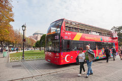 Tourist bus in Sultanahmet Square Stock Images